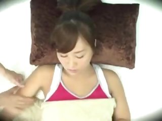Asian gal gets romped at hand various objects