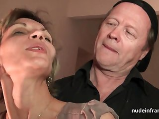 Older knob and youthfull peep drill French mature and sploog her face with spunk in threesome