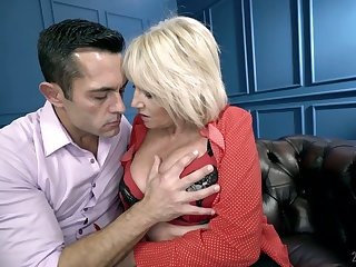 Mature woman Rosemary is making love with her young hot blooded lover