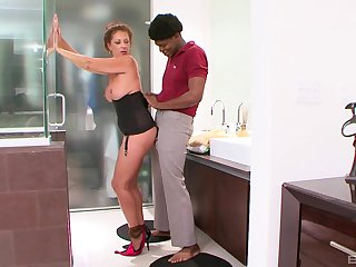 Mature amateur blonde babe Margo Sullivan pounded by a big black dick