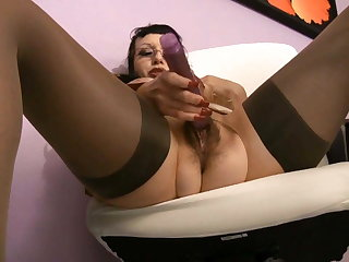 busty hairy secretary MILF dirty talk jerkoff instructions