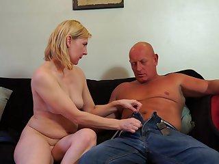 Bald guy fucks a stunning blonde mature amateur MILF Kate Aveiro