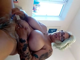 Hot blonde milf with tattoos big tits wet shaves her pierced pussy