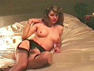 wife retro striptease and caress before blowjob
