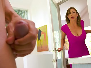 Spotting her son's friend masturbating in the bathroom