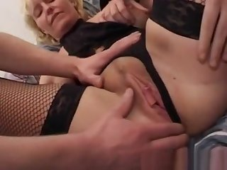Mama In Fishnet Stockings Double Teamed