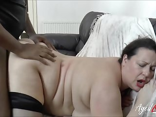 BBW fucked in her bald cunt by a big black cock