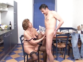 Grandson Seduce Hairy Granny to Make Love - German Vintage Porn