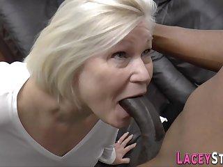 Plowed grandma sucking big black cock - low quality