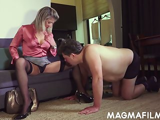 Kinky mistress Nikki finger fucks ass hole of submissive fat guy and gets her anus rammed
