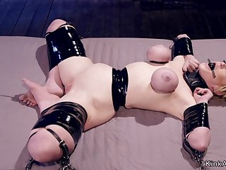 Big-Breasted Housewife in bondage caned and clapmed