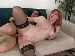 passionate milf Freya Fantasia  ramming a hard friend's cock on the bed
