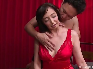 Otowa Ayako wears sexy red dress for fucking her handsome friend