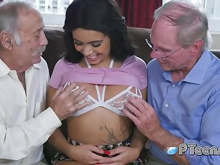 Hottie grandpa go beserk over hotness 18-year-old big honkers
