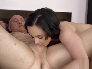 Hot babe fucks another grandpa