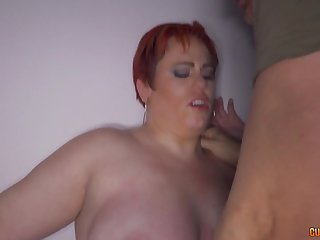Obese lady smothers well-hung lad with her butt and belly